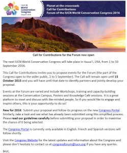 IUCN Congress 2016 Hawaii - Call for Contributions